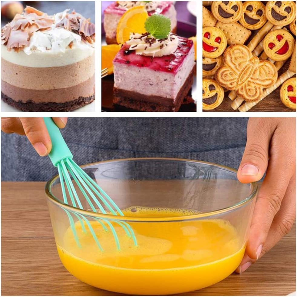 No Scratch Tiny Balloon Wire Whisk Milk Frother Kitchen Utensils 5 Pack Mini Silicone Whisks Small Hand Whisk Rubber Cooking Whisk Stainless Steel Non Stick Kitchen Whisk Gadgets for Cooking Mixing