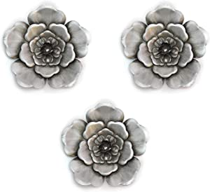 Stratton Home Decor Silver Metal Wall Flowers (Set of 3)