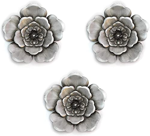 Stratton Home Decor Silver Metal Wall Flowers Set of 3