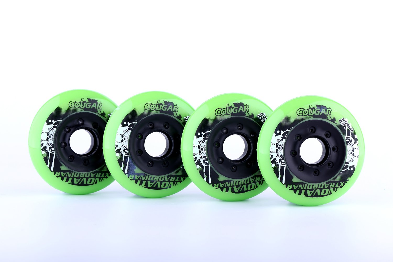 Cougar 8-pack, Inline Skate/Rollerblade Wheels (Lime Green, 72mm)