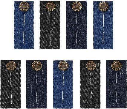 3 Pieces Blue Denim Jeans Pants Skirt Waist Extender Button Waist Expanders