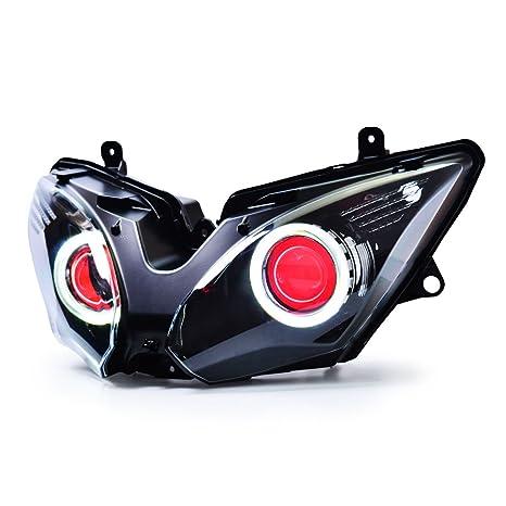 KT LED Angel Eye Headlight Assembly for Kawasaki Ninja 650 Red Demon Eye