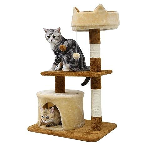 LEMAIJIAJU Postes rascadores Árboles para Gatos Sisal Franela Juguete de Gato Arena para Gatos (Marrón