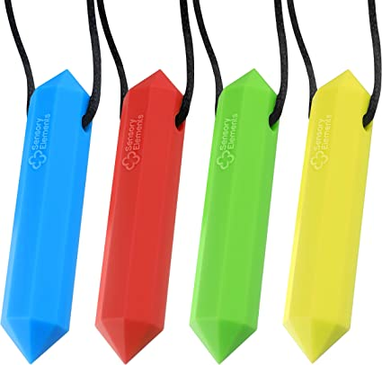 Sensory Chew Necklace Chewlery Necklaces Autism ADHD Food Grade Silicone 4 Pack