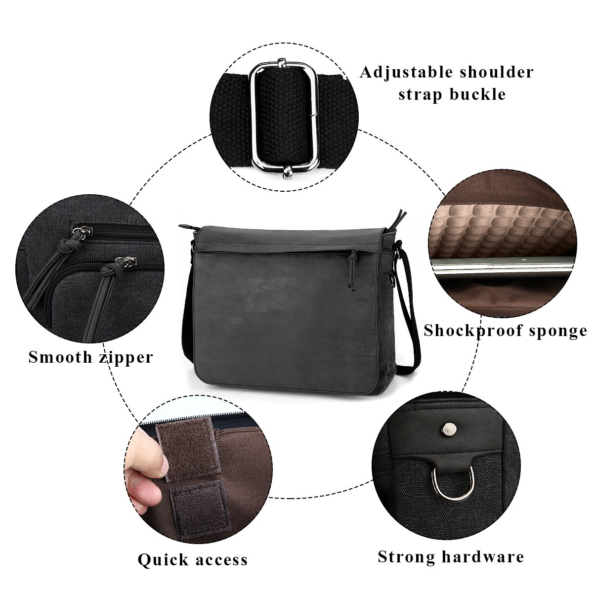 "Mens Laptop Messenger Bags 15.6"" Water Resistant Shoulder Bag Tocode PU Leather Canvas Satchel Crossbody Bags Brifecase Office Bag Large Computer Bag for Work College School Travel, Black by Tocode (Image #7)"