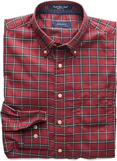 GANT S. South Shore Twill Check LS BD Camisa, Carmine Red 648 ...