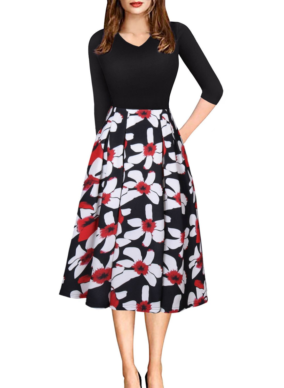 HUSKARY Women's Vintage Floral Patchwork 3/4 Sleeve Pockets Casual Cocktail Party Work Swing Dress,Black,Large