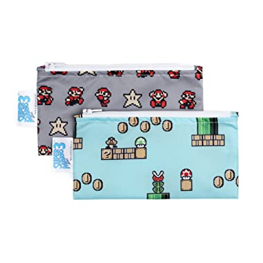 Bumkins Nintendo Super Mario Snack Bags, Reusable, Washable, Food Safe, BPA Free - 8-Bit Game / Pixel, Pack of 2