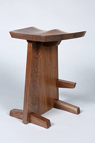 natural edge walnut stool with hand carved seat