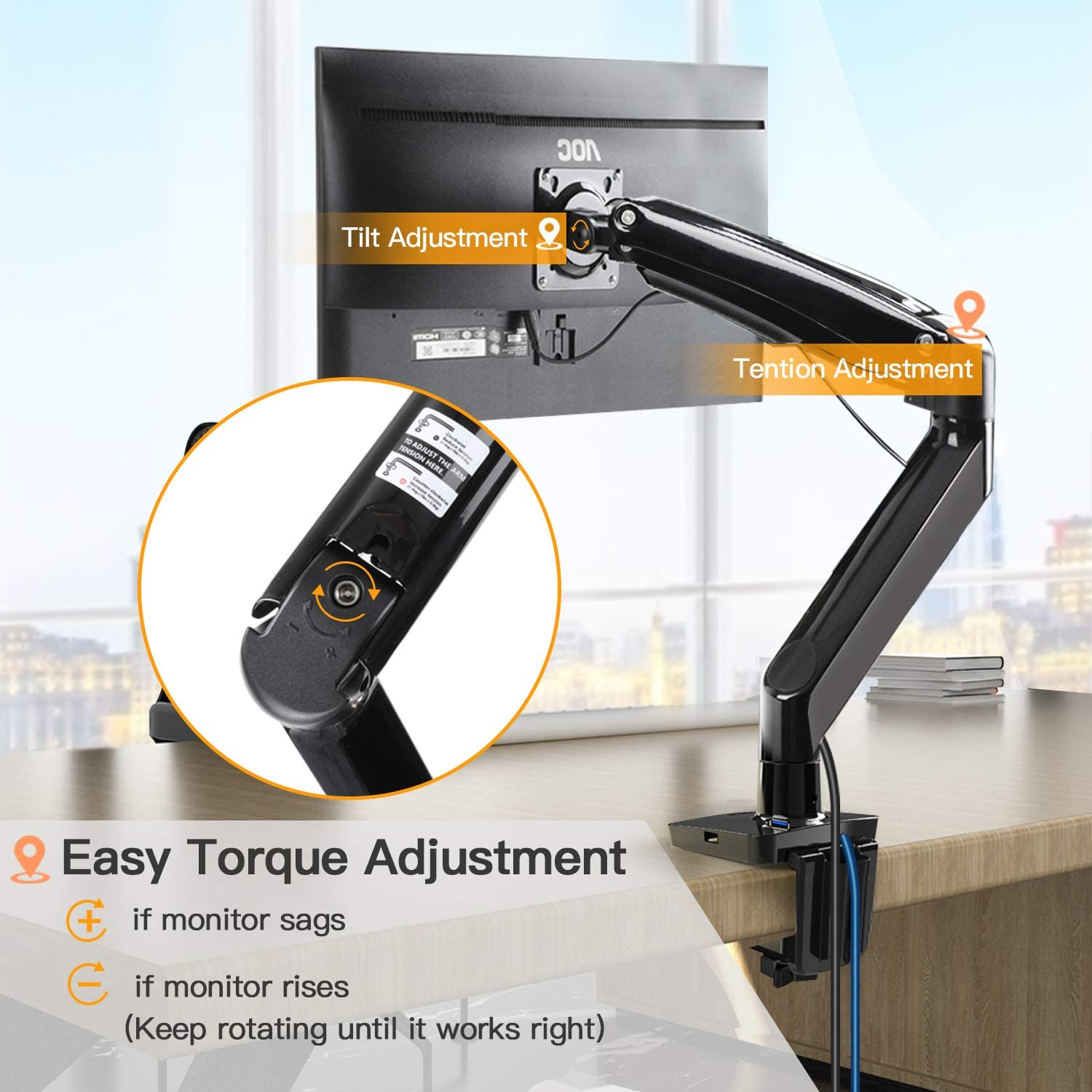 """Height//Tilt//Swivel//Rotation Adjustable Holds from 6.6lbs to 26.5lbs Ultrawide Computer Screen Desk Mount w//Full Motion Gas Spring Arm ErGear 22-35/"""" Premium Single Monitor Stand Mount"""