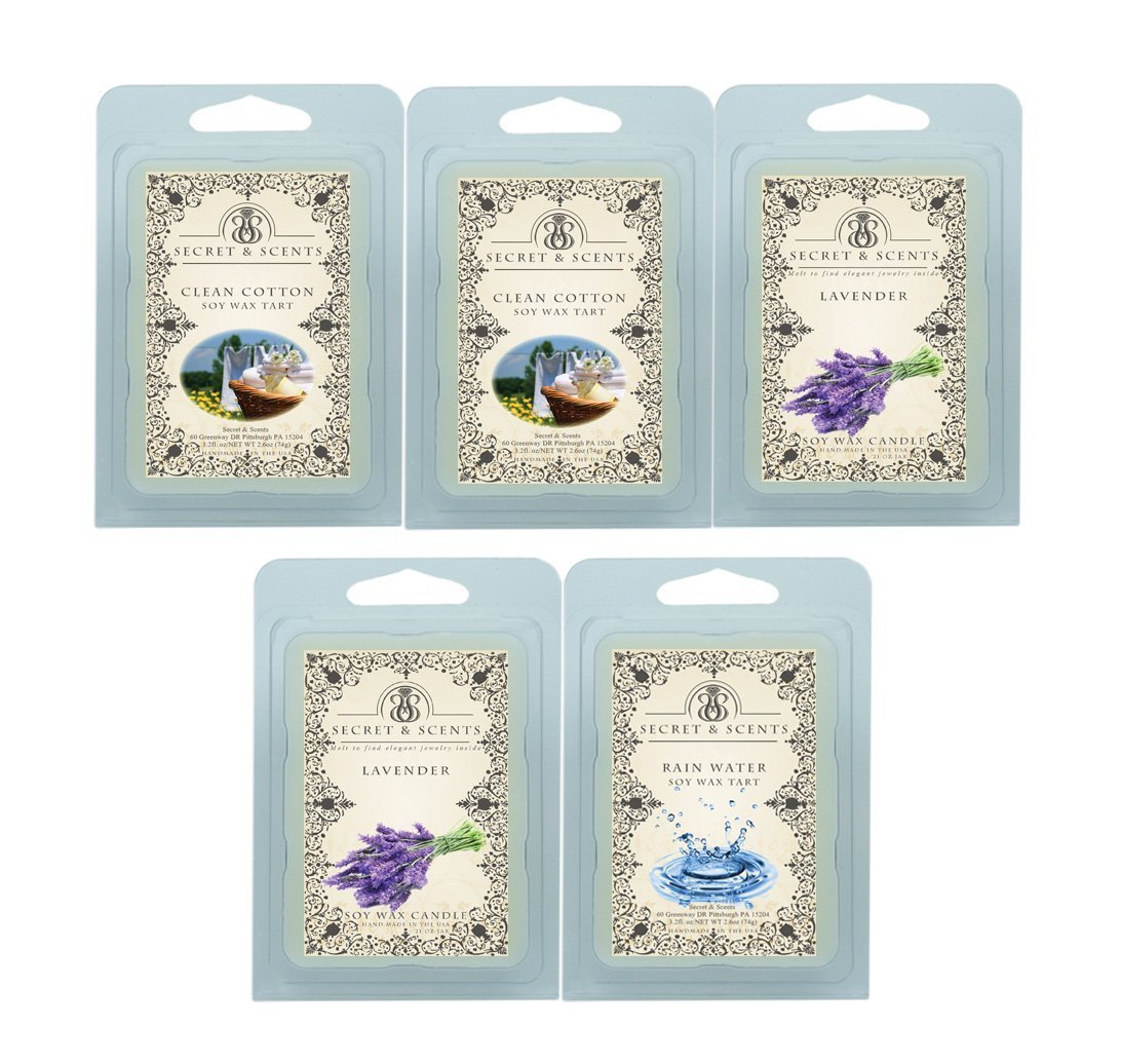 Secret and Scents Highly Scented Soy Wax Melts - 5 Assorted Wax Tart Cubes Variety Packs (Clean)