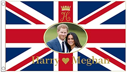 Amazon.com: Prince Harry & Meghan Markle boda bandera 5 x3 ...