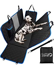 Dog Hammcok for Car Back seat with Mesh Visual Window, Side Flaps with Zipper, Padded 4 Layers Waterproof Heavy Duty Dog Hammock with Seat Belt and Bag, Scratch Proof Nonslip Pet Car Seat Cover.