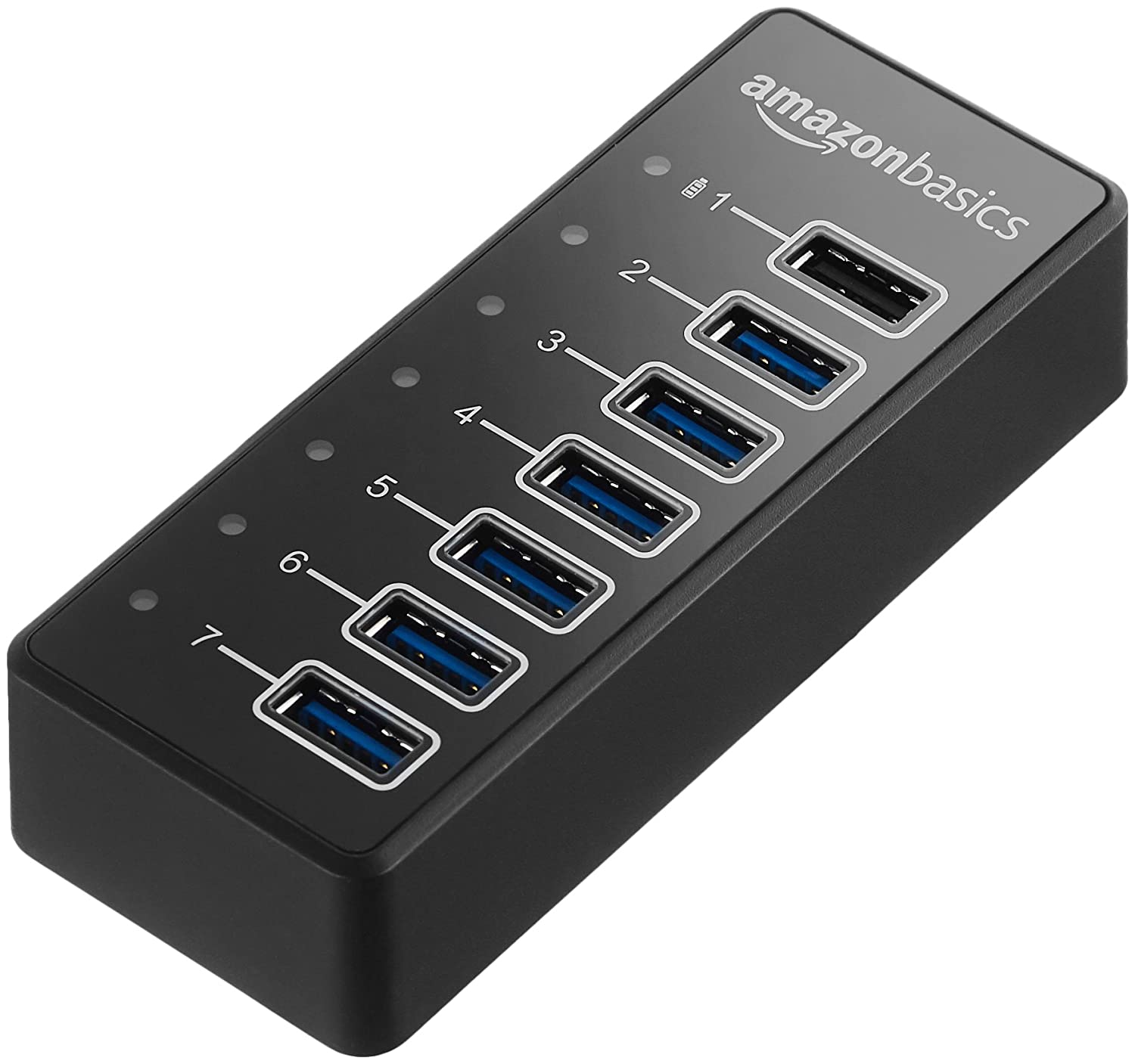 AmazonBasics USB-A 3.1 7-Port Hub with Power Adapter - 36W (12V/3A), Black