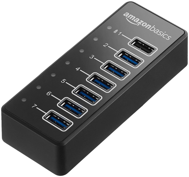 AmazonBasics USB-A 3.1 7-Port Hub with Power Adapter - 36W (12V/3A), Black