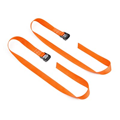 """PowerTye 1½"""" x 4ft SPECIAL EDITION Heavy-Duty Lashing Strap Made in USA with Heavy-Duty BLACK Buckle, Orange, 2-Pack (SE): Automotive"""