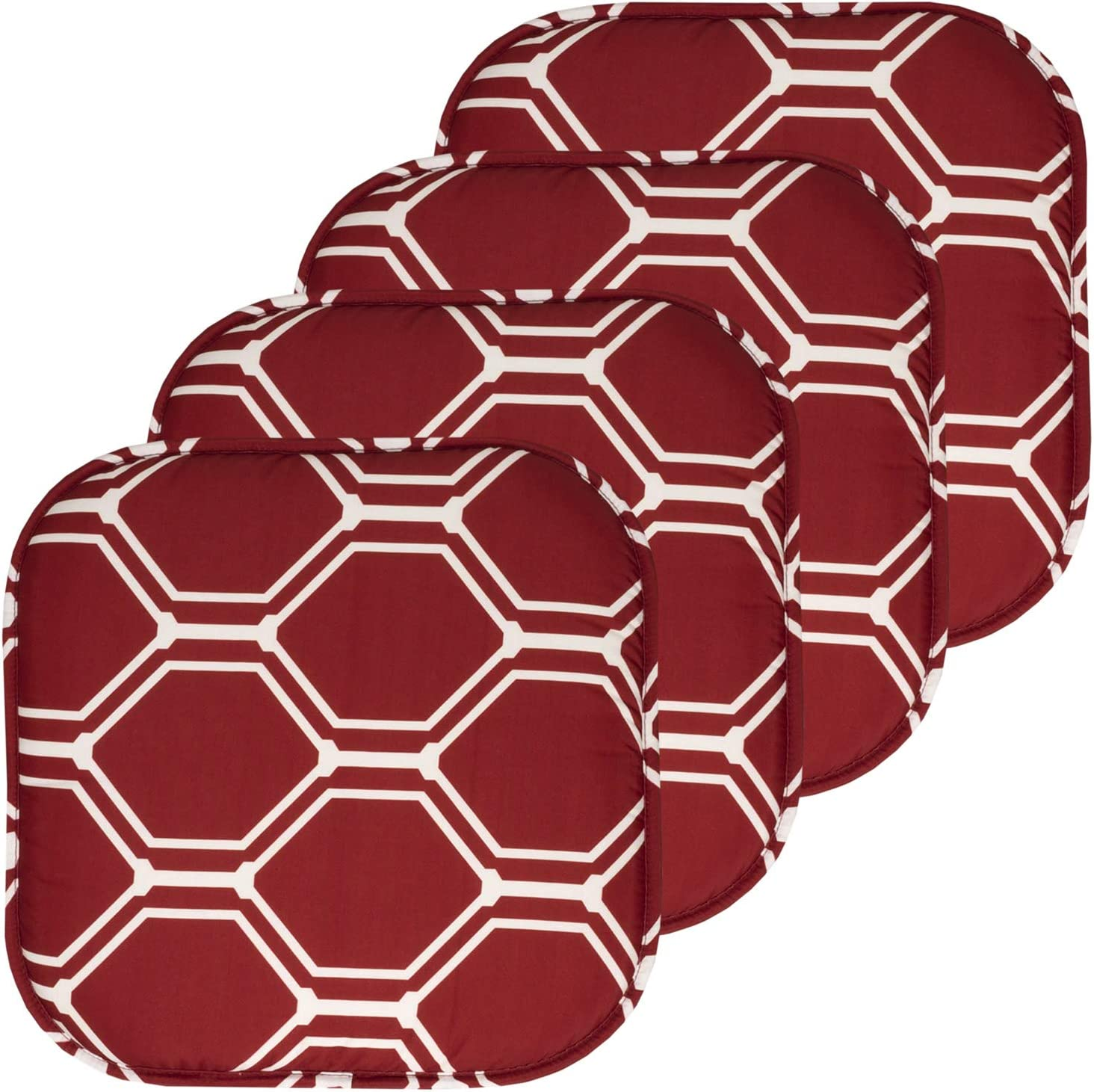 6 Pack Mirage Wine//White Sweet Home Collection Chair Cushion Memory Foam Pads Honeycomb Pattern Slip Non Skid Rubber Back Rounded Square 16 x 16 Seat Cover