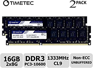 Timetec Hynix IC 16GB Kit (2x8GB) DDR3 1333MHz PC3-10600 Unbuffered Non-ECC 1.5V CL9 2Rx8 Dual Rank 240 Pin UDIMM Desktop Memory Ram Module Upgrade (16GB Kit (2x8GB))