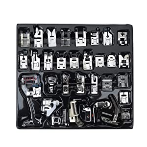 FF Elaine Professional Domestic Sewing Foot Presser Foot Presser Feet Set for Brother, Babylock, Singer, Janome, Elna, Toyota, New Home, Simplicity, Kenmore (32 PCS)