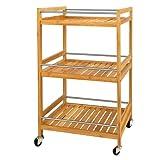 SoBuy® Servierwagen, Küchenwagen, Rollwagen aus Bambus FKW11-N