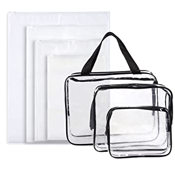 382dd3a65ece Amazon.com   Set of 7 Travel Toiletry Bags - Clear Make-up Bags