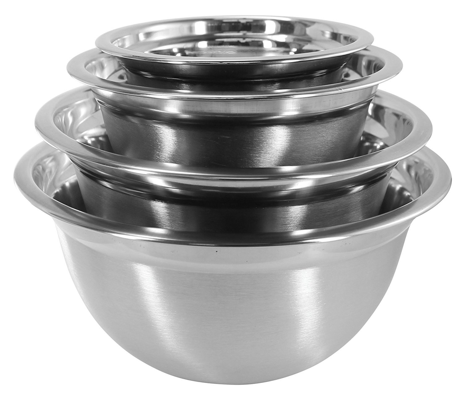 Iconikal 4-Piece Stainless Steel Mixing Bowl Set - EZ-Grip Edges