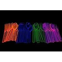 Assorted Neon Blacklight Reactive 48 piece Plastic Cutlery Set