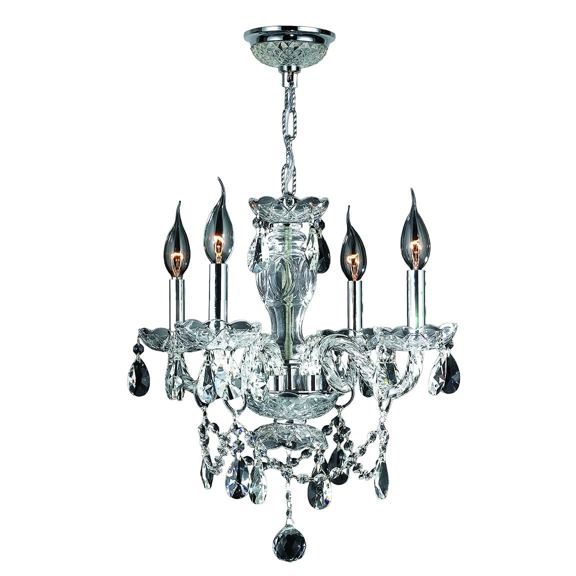 Worldwide Lighting Provence Collection 4 Light Chrome Finish and Clear Crystal Chandelier 17'' D x 18'' H Medium