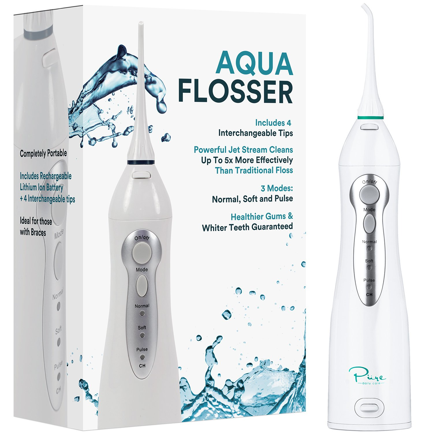Pure Daily Care Water Flosser with 4 Tips and 4 Piece Dental Kit, White, One Size by Pure Daily Care (Image #2)