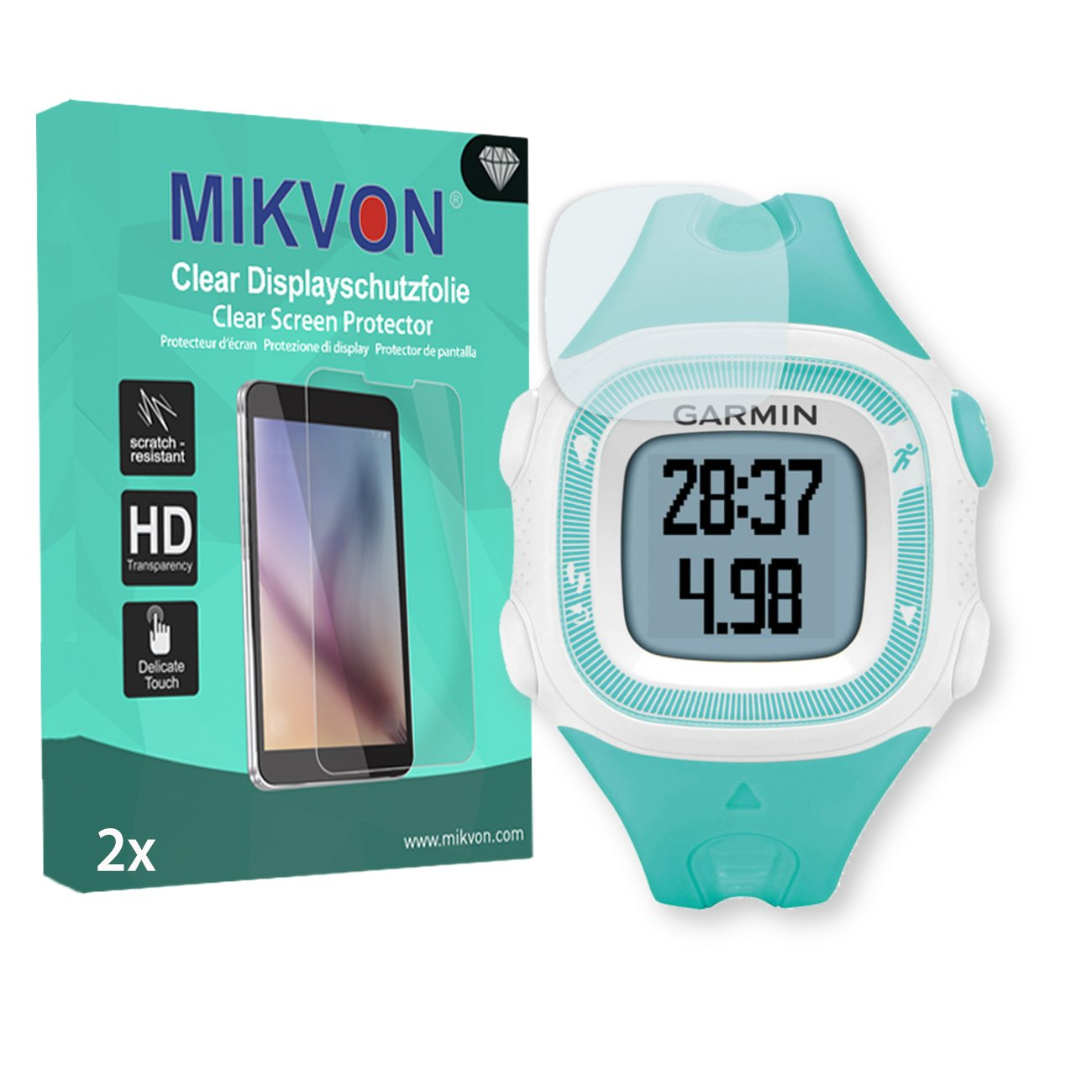 MIKVON 2X Clear Screen Protector for Garmin Forerunner 15 S - Retail Package with Accessories