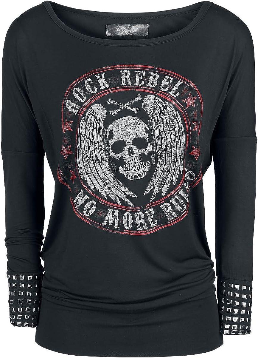 Rock Rebel by EMP Fast and Loose Mujer Camiseta Manga Larga Negro, mit Nieten Ancho: Amazon.es: Ropa y accesorios