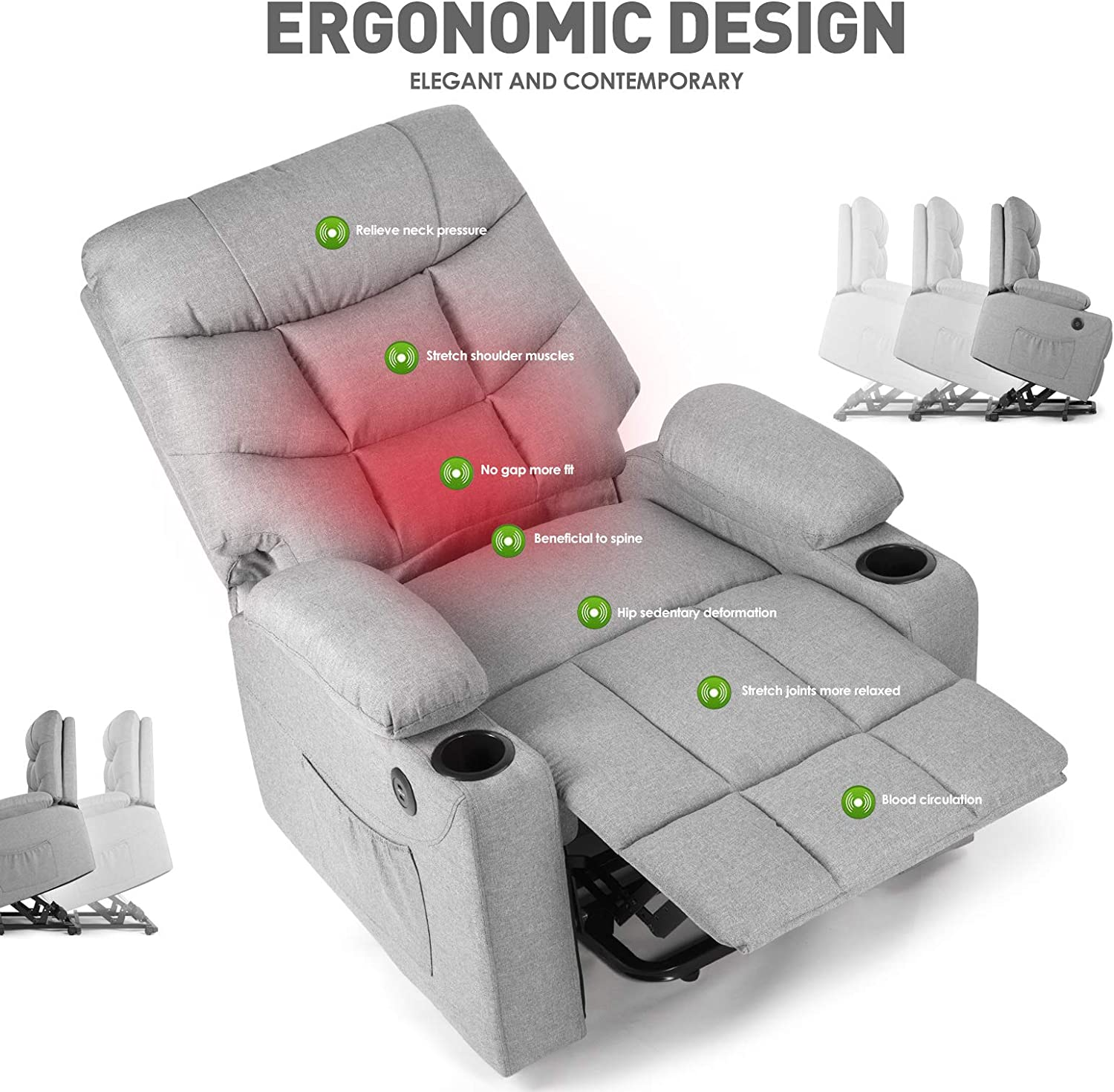 Zero Gravity Microfiber Ergonomic Living Room Sofa with Heated Control Home Theater Seating Fit for Office Nap Artist Hand 8 Point Massage Recliner Lounge Chair Beige