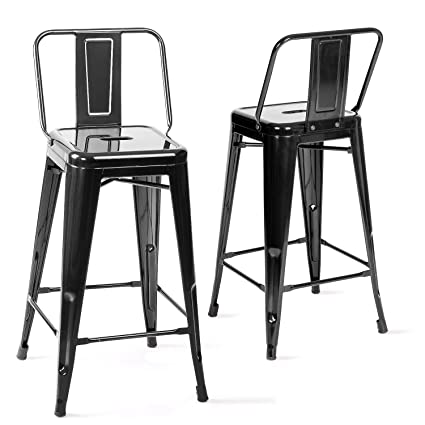 Merax Metal Bar Stools Cafe Chairs Low Back, 26 Inch, Set Of 2
