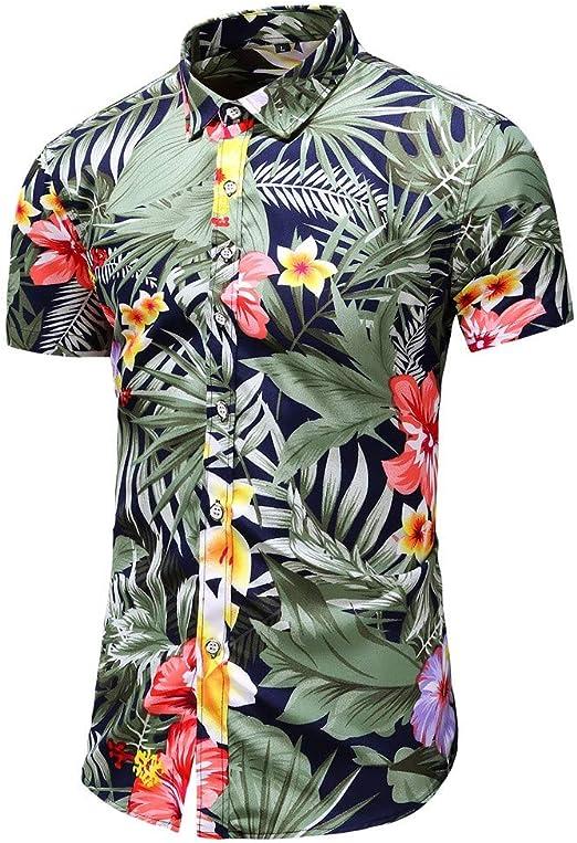 MOTOCO Hombre de Manga Corta de Verano de Negocios de un Solo Pecho Camisa de Manga Corta de impresión Informal Solapa Camisa Hawaiana(M, Negro-1): Amazon.es: Ropa y accesorios