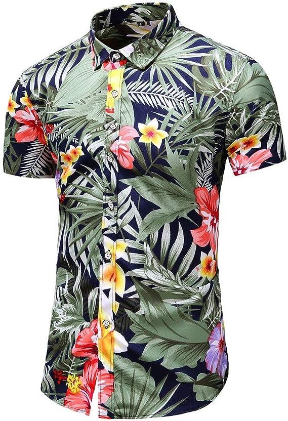 MOTOCO Hombre de Manga Corta de Verano de Negocios de un Solo Pecho Camisa de Manga Corta de impresión Informal Solapa Camisa Hawaiana(S, Negro-1): Amazon.es: Ropa y accesorios