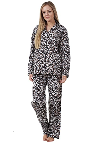 Conjunto de pijama para mujer - Manga larga - 100 % algodón - Estampado de leopardo