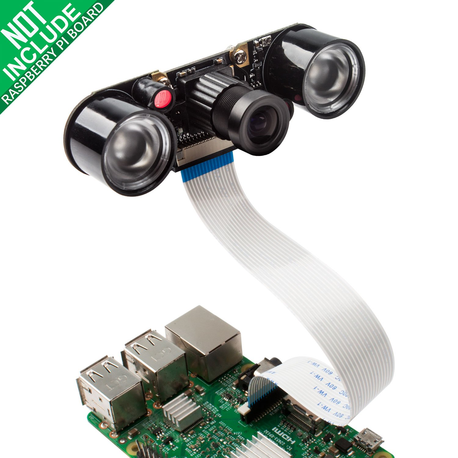 Camera Module for Raspberry Pi 3 with 5MP 1080p OV5647 Video Webcam Supports Night Vision Compatible with Raspberry Pi 3b 2 Model B B+ by Smraza