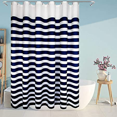 Fabric Shower Curtain Navy and White Nautical Stripe Design Navy and White