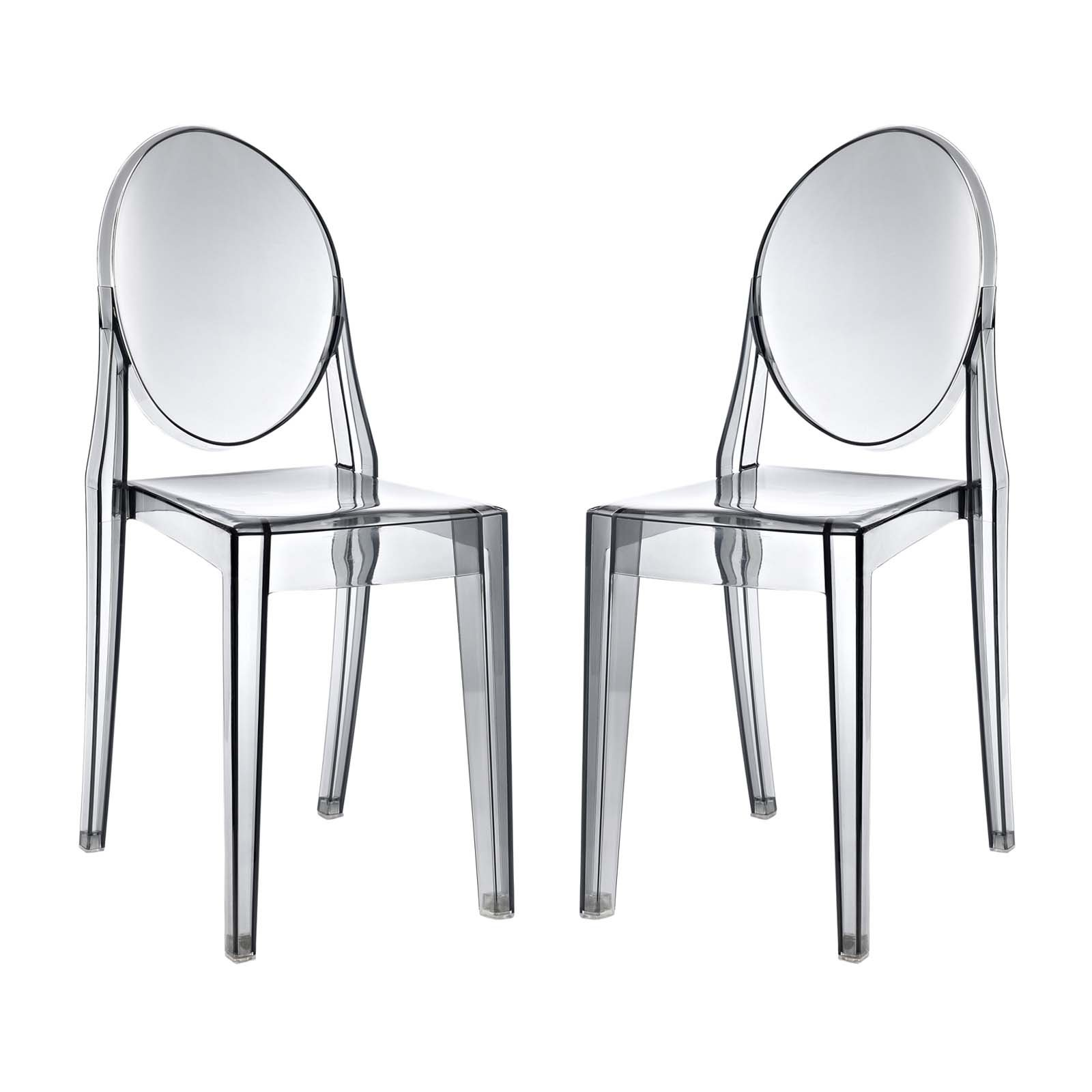 Modway Casper Modern Acrylic Dining Side Chairs in Smoke - Set of 2 by Modway