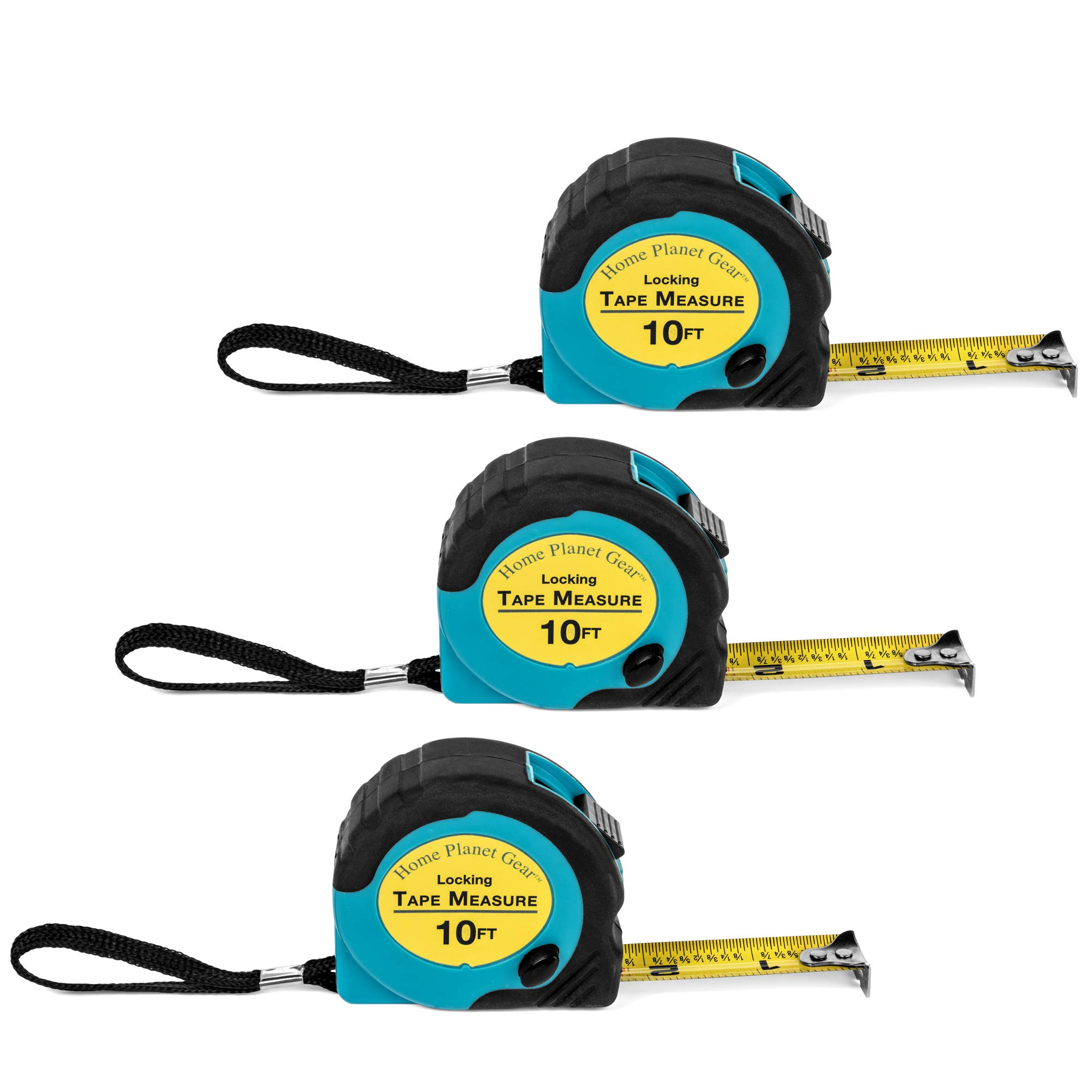 Where's My Tape Measure? - 3 Pack of 10 ft, Locking, Retractable Auto-Wind Measuring Tapes with Fractions. Accurate, Easy to Read & EASY TO FIND! by Home Planet Gear