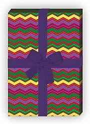f/ür tolle Geschenkverpackung und /Überraschungen basteln 32 x 48cm //Dekorpapier mit Designer Zickzack 4 Bogen gelb Modernes Geschenkpapier Set