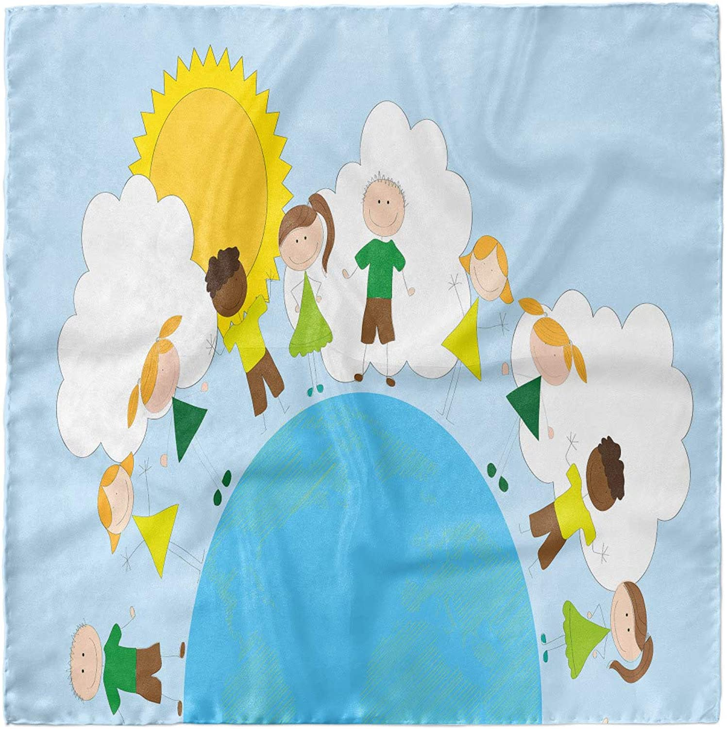 Hair Wrap Ambesonne World Head Scarf Smiling Kids on Planet