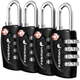 TSA Approved Luggage Locks Fosmon (4 Pack) 4 Digit Combination Padlock Codes with Alloy Body for Travel Bag Suit Case Lockers Gym Bike Locks or Other