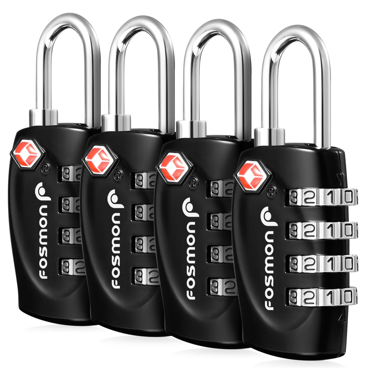TSA Approved Luggage Locks, Fosmon (4 Pack) 4 Digit Combination Padlock Codes with Alloy Body for Suit Case, Lockers, Bike Locks