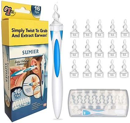 Sicher und Weich Q Grips Ohrenreiniger mit 16 Waschbaren Ersatzk/öpfen Geeignet f/ür Kinder und Familie 360 Grad Spiral Silikon Ohrenschmalz Entferner
