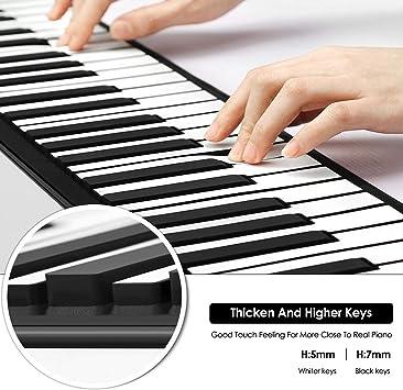 TTLIFE Roll Up Piano, 88 teclas, teclado de piano eléctrico, instrumento de música electrónico plegable portátil, piano digital, con 128 tipos de ...