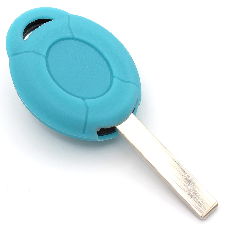 Finest-Folia Coque de cle Mic pour cl/é de voiture 2/Boutons Silicone Cover Rot