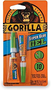 Gorilla Super Glue Gel, Two 3 Gram Tubes, Clear, (Pack of 10)