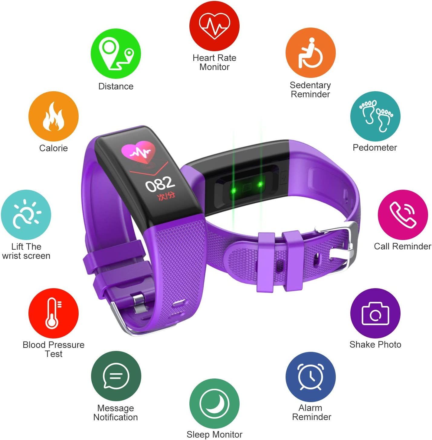 Golden hour Fitness Tracker HR, Activity Tracker with Heart Rate Monitor, IP67 Waterproof Smart Bracelet with Step, Calorie Counter, Sleep Monitor, Pedometer, Health Watch