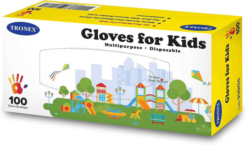 300-Pack Tronex Kids Nitrile Disposable Gloves for 6-12 Years, Food Safe, Multipurpose, Fingertip-Textured, Powder-Free